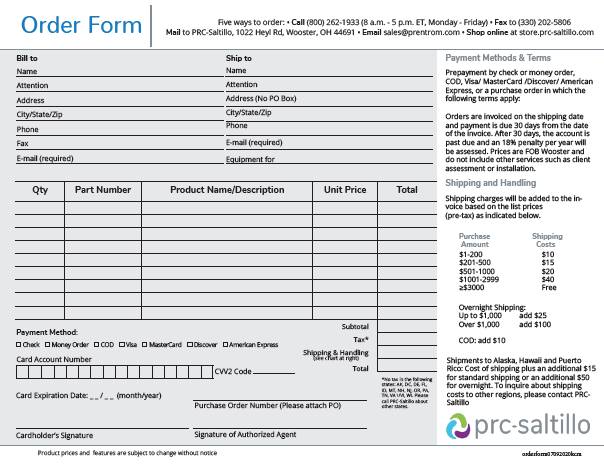 image of order form